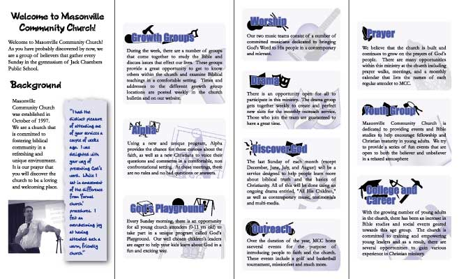 masonville community church s information brochure inside