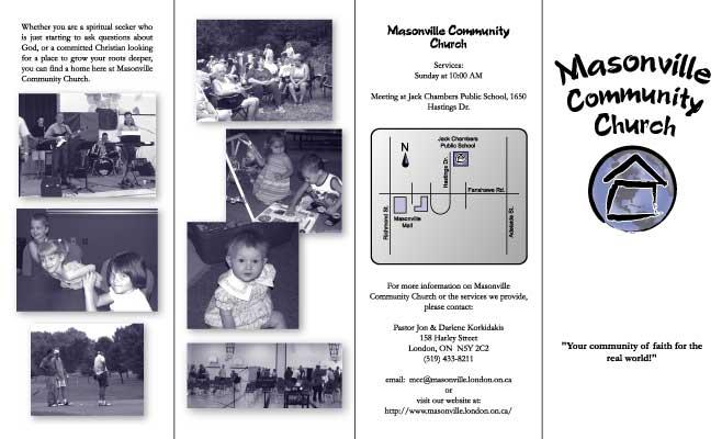 masonville community church s information brochure outside